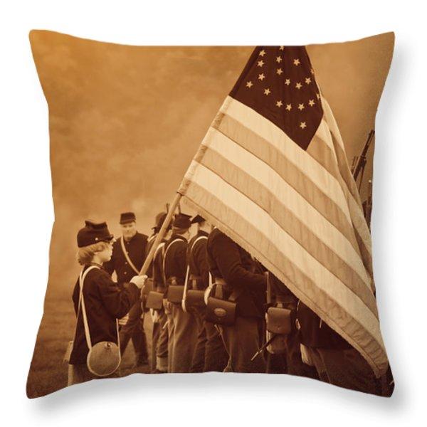 Flag Carrier Throw Pillow by Kim Henderson