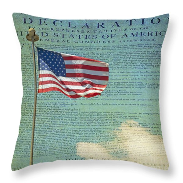 Flag - Declaration Of Independence -  Luther Fine Art Throw Pillow by Luther  Fine Art