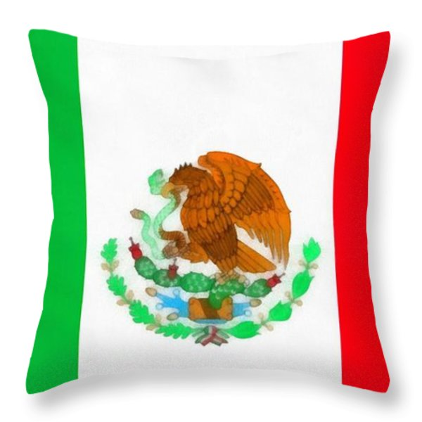Flag Of Mexico Throw Pillow by Dan Sproul