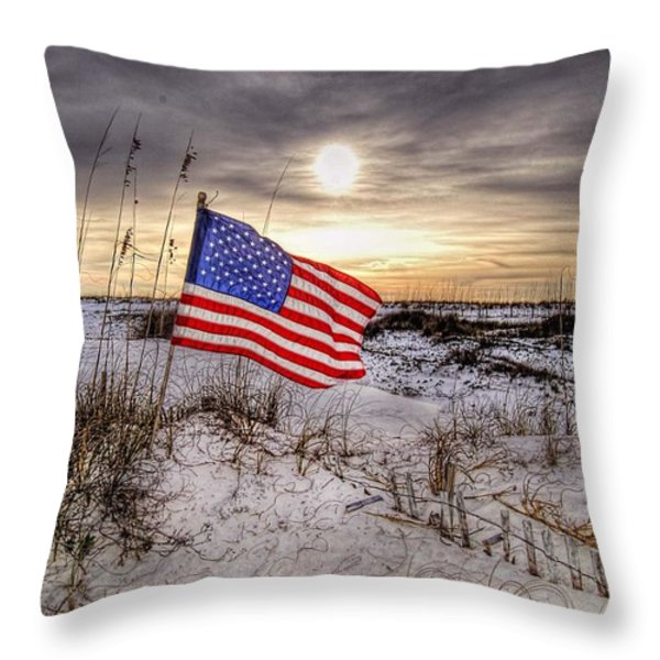 Flag On The Beach Throw Pillow by Michael Thomas