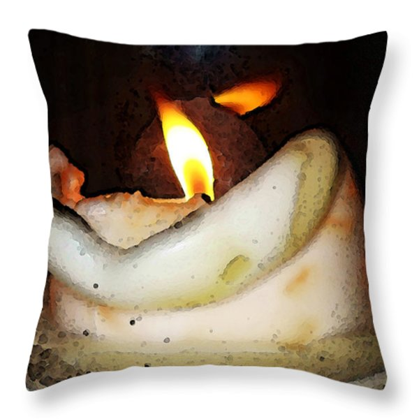 Flame Candle Art Throw Pillow by Sharon Cummings