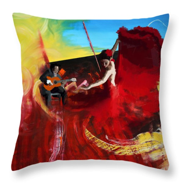 Flamenco Dancer 016 Throw Pillow by Catf