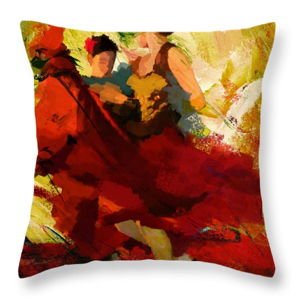 Flamenco Dancer 019 Throw Pillow by Catf