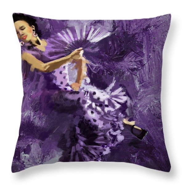 Flamenco Dancer 023 Throw Pillow by Catf