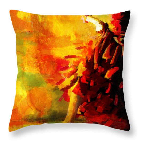 Flamenco Dancer 026 Throw Pillow by Catf