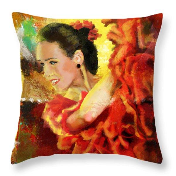 Flamenco Dancer 027 Throw Pillow by Catf