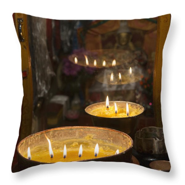 Flames Burning In A Row In Large Bronze Throw Pillow by Keith Levit