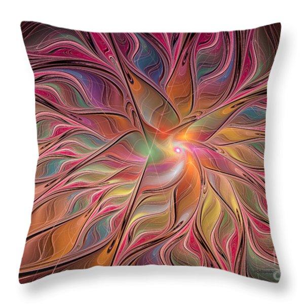 Flames of Happiness Throw Pillow by Deborah Benoit