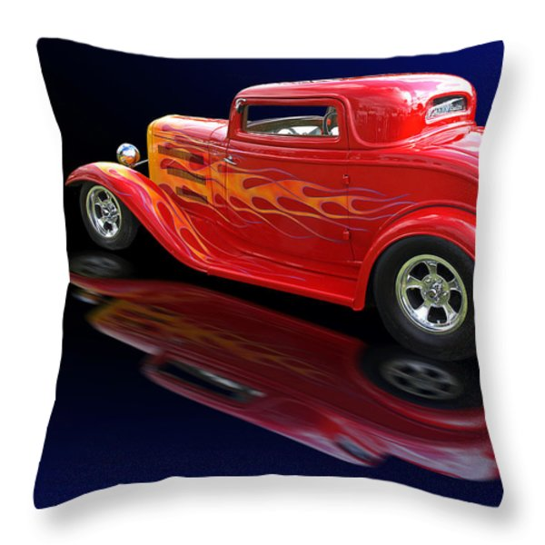 Flaming Roadster Throw Pillow by Gill Billington