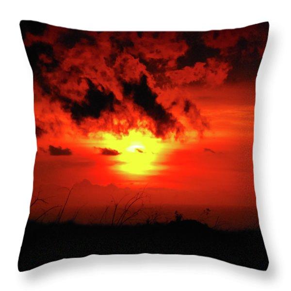 Flaming Sunset Throw Pillow by Christi Kraft