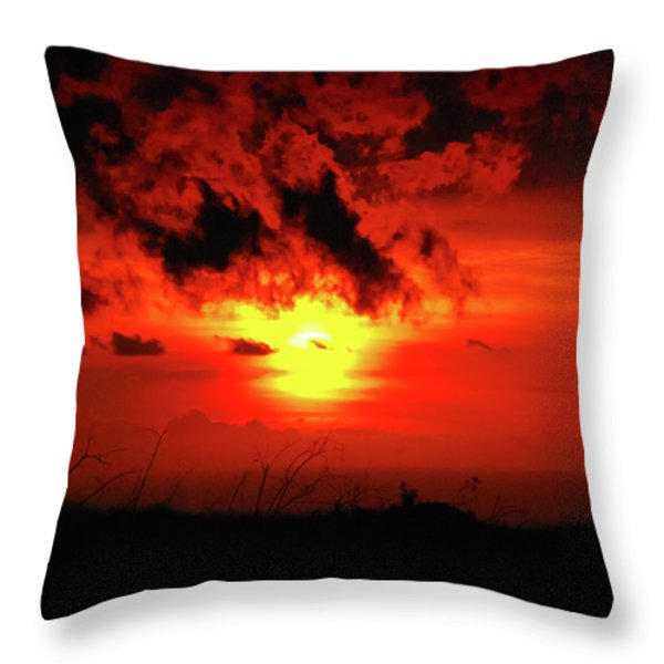 Flaming Sunset Throw Pillow by Christi Kraft