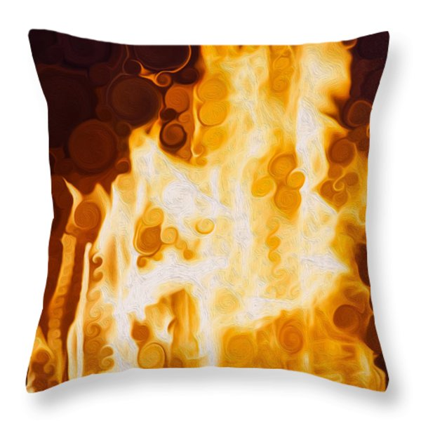 Flaming Waters Throw Pillow by Omaste Witkowski