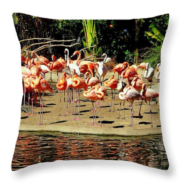 Flamingo Family Reunion Throw Pillow by KAREN WILES