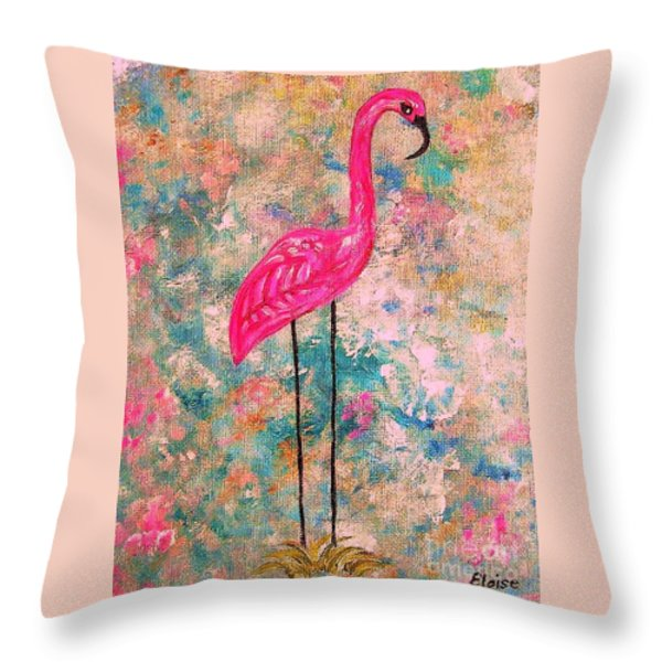 Flamingo On Pink And Blue Throw Pillow by Eloise Schneider