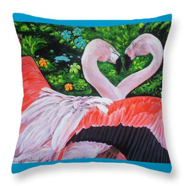 Flamingo Paradise Throw Pillow by Chikako Hashimoto Lichnowsky