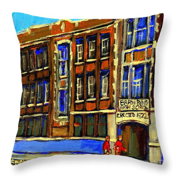 FLASHBACK TO SIXTIES MONTREAL MEMORIES BARON BYNG HIGH SCHOOL VINTAGE LANDMARK ST. URBAIN CITY SCENE Throw Pillow by CAROLE SPANDAU