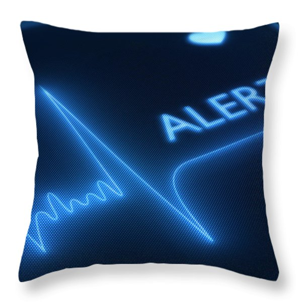 Flat line alert on heart monitor Throw Pillow by Johan Swanepoel
