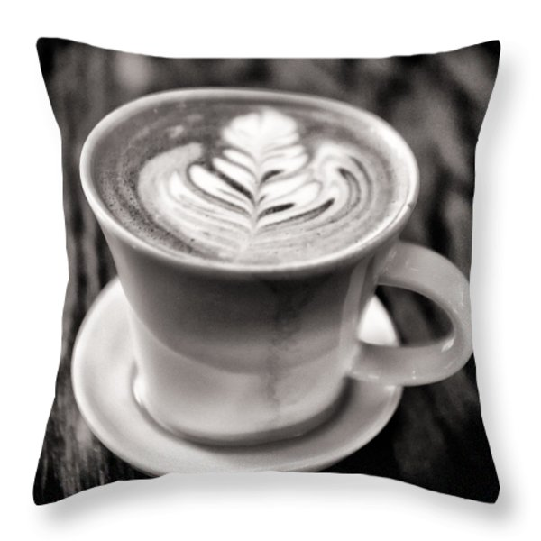 Flat White Throw Pillow by Tanya Harrison
