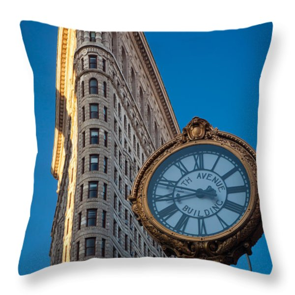 Flatiron Clock Throw Pillow by Inge Johnsson