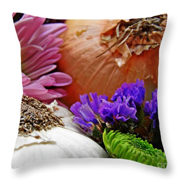 Flavored with Onion and Garlic Throw Pillow by Sarah Loft
