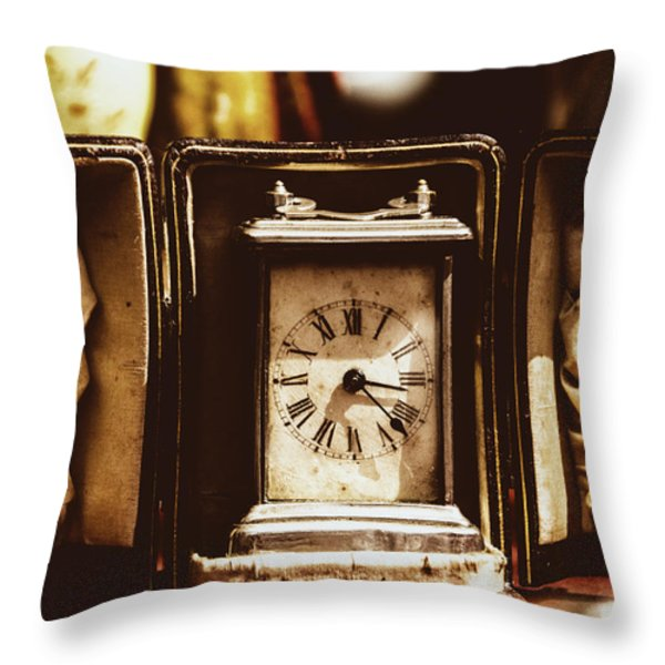 Flea Market Series - Clock Throw Pillow by Marco Oliveira