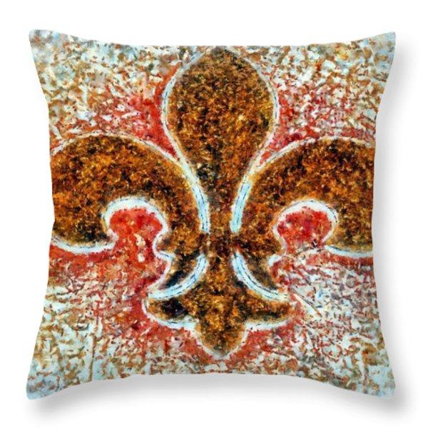 Fleur De Lis Gold Dust Throw Pillow by Janine Riley