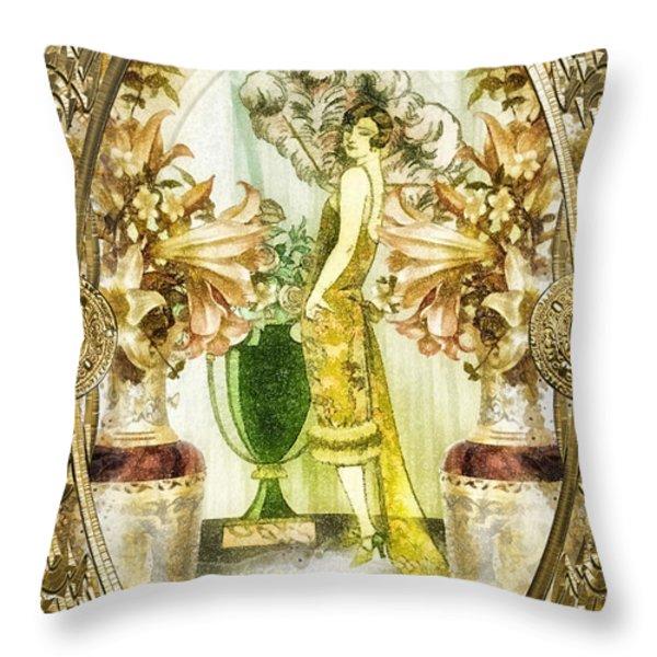 Fleurdelys Throw Pillow by Mo T