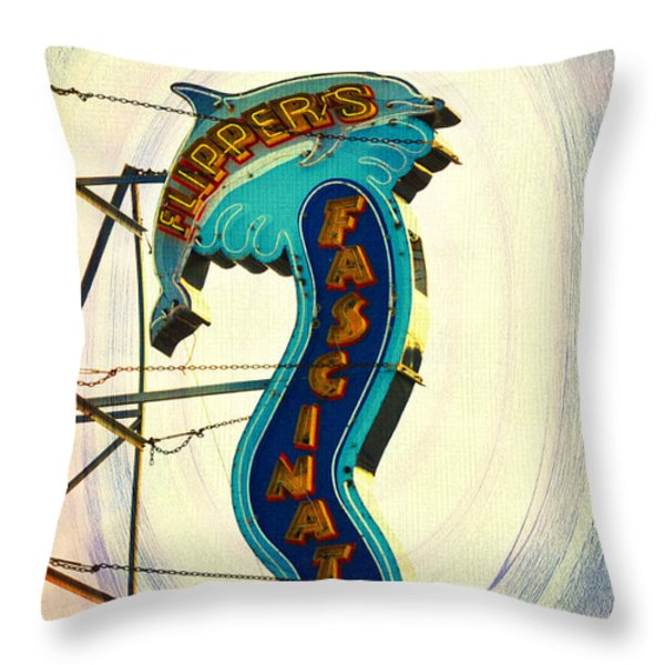 Flippers Facination - Wildwood Boardwalk Throw Pillow by Bill Cannon