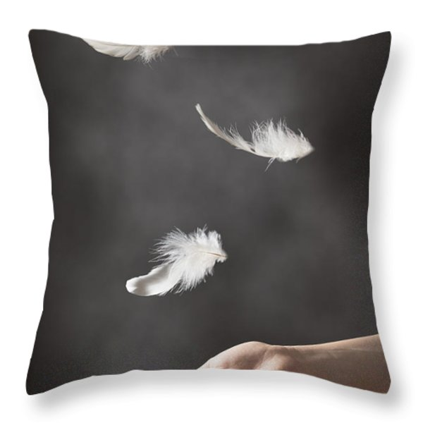 Floating Feathers Throw Pillow by Amanda And Christopher Elwell