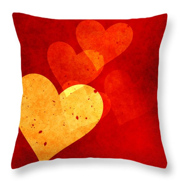 Floating Hearts Throw Pillow by Kurt Van Wagner