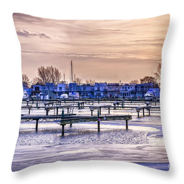 Floating Homes At Bluffers Park Marina Throw Pillow by Elena Elisseeva