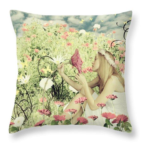 Flora Throw Pillow by Linda Lees