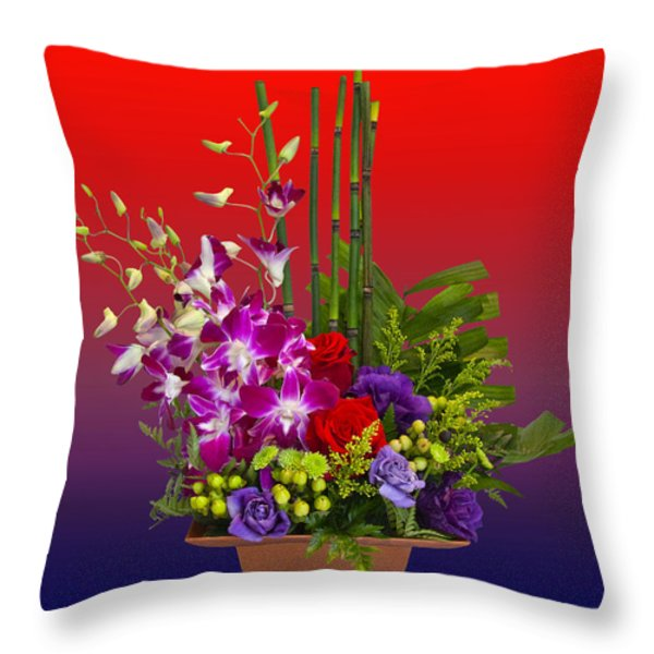 Floral Arrangement Throw Pillow by Chuck Staley