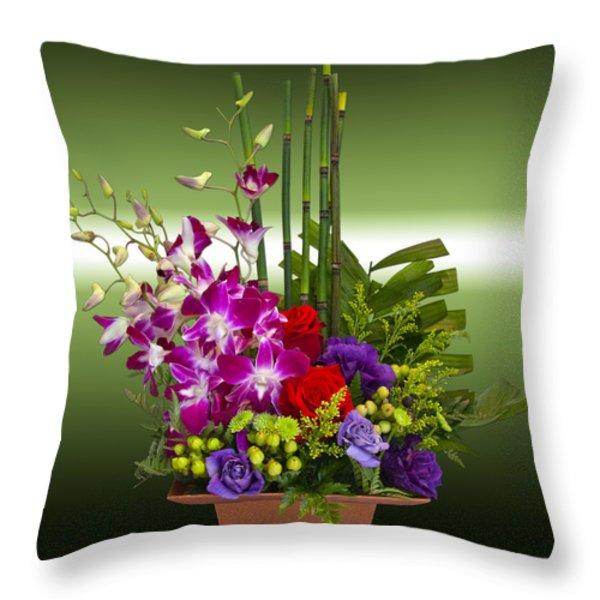 Floral Arrangement - Green Throw Pillow by Chuck Staley