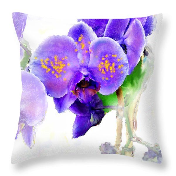 Floral series - Orchid Throw Pillow by Moon Stumpp