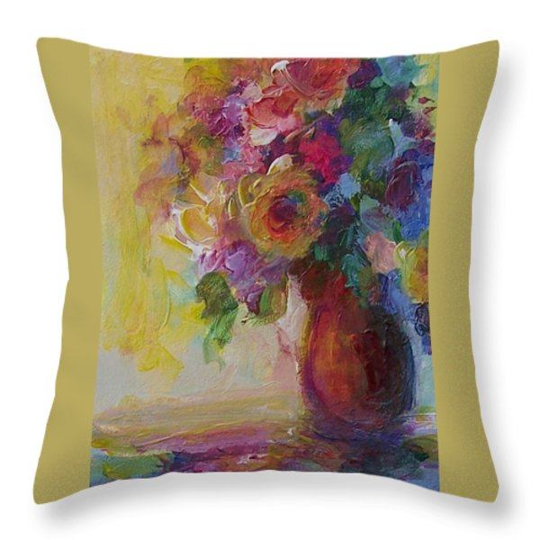 Floral Still Life Throw Pillow by Mary Wolf