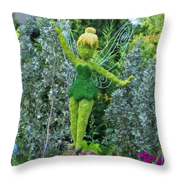 Floral Tinker Bell Throw Pillow by Thomas Woolworth