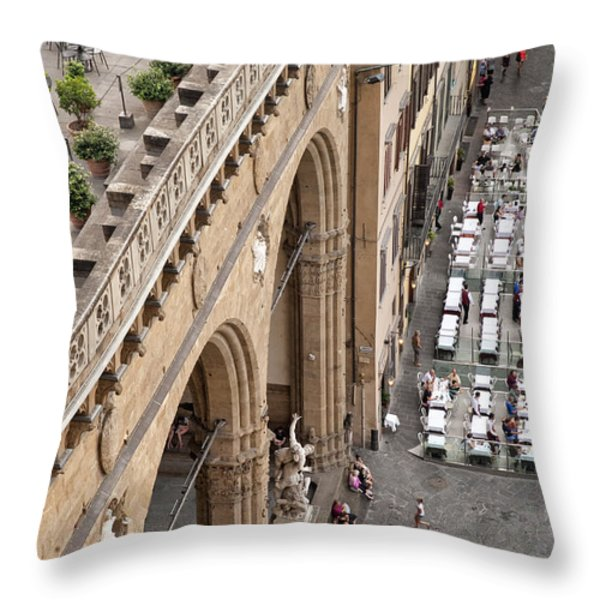 Florence and Piazza della Signoria Throw Pillow by Melany Sarafis
