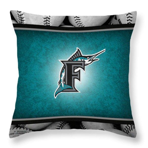 FLORIDA MARLINS Throw Pillow by Joe Hamilton