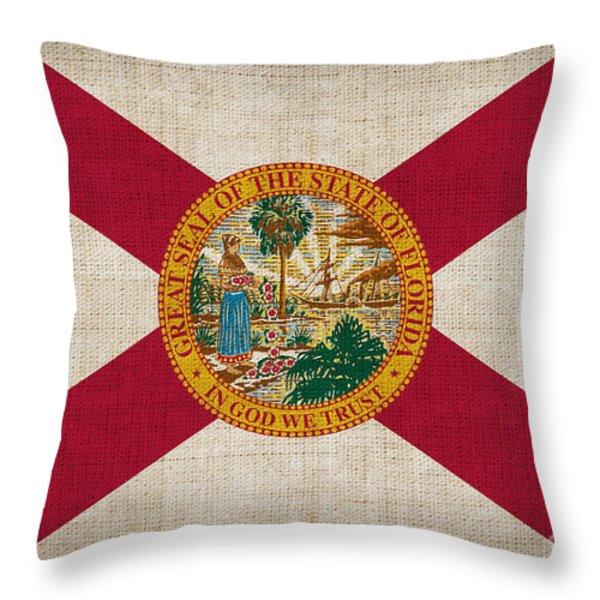 Florida State Flag Throw Pillow by Pixel Chimp