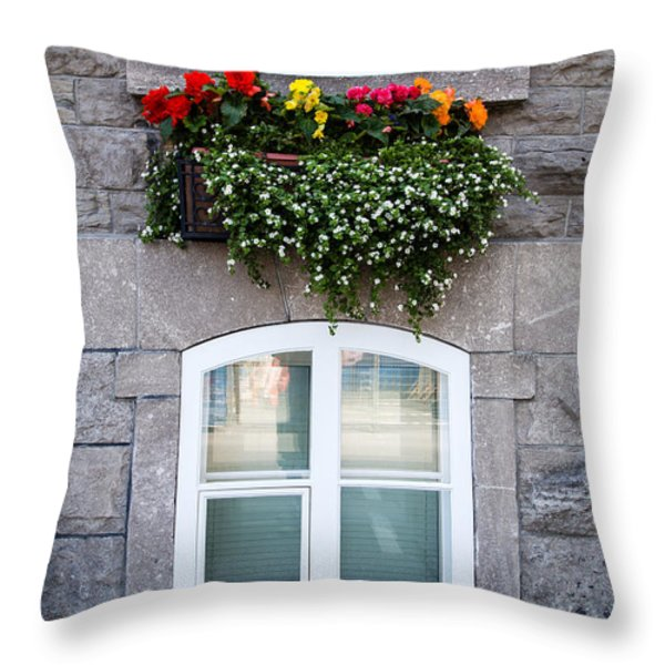 Flower Box Old Quebec City Throw Pillow by Edward Fielding