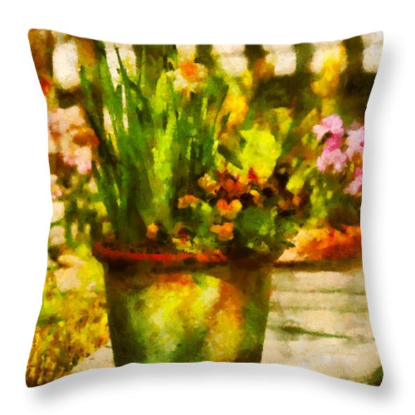 Flower - Daffodil - A pot of daffodil's Throw Pillow by Mike Savad
