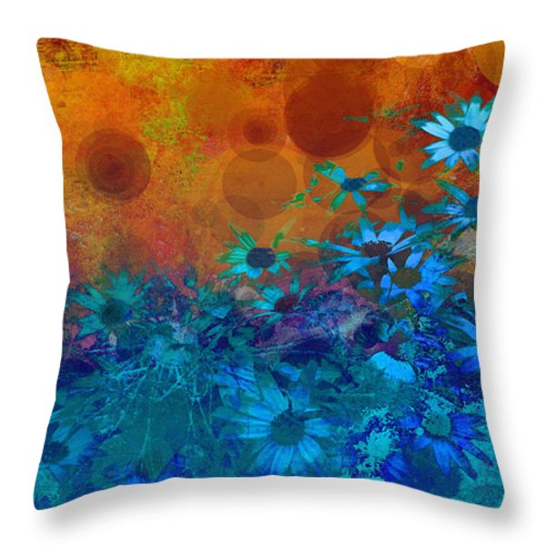Flower Fantasy in Blue and Orange  Throw Pillow by Ann Powell