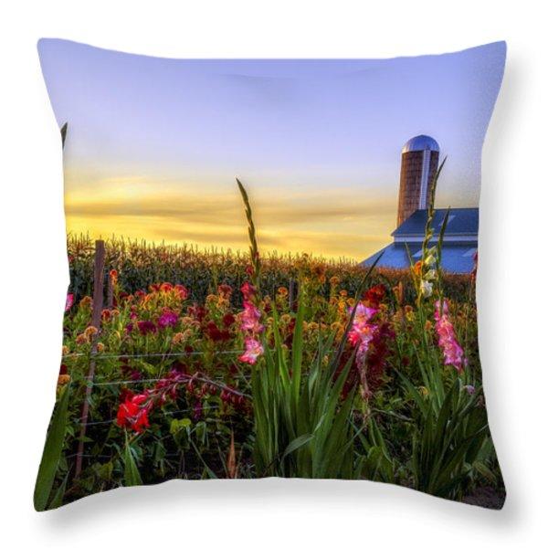 Flower farm Throw Pillow by Mark Papke
