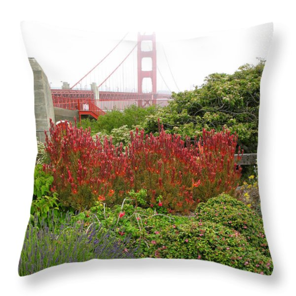 Flower Garden At The Golden Gate Bridge Throw Pillow by Connie Fox