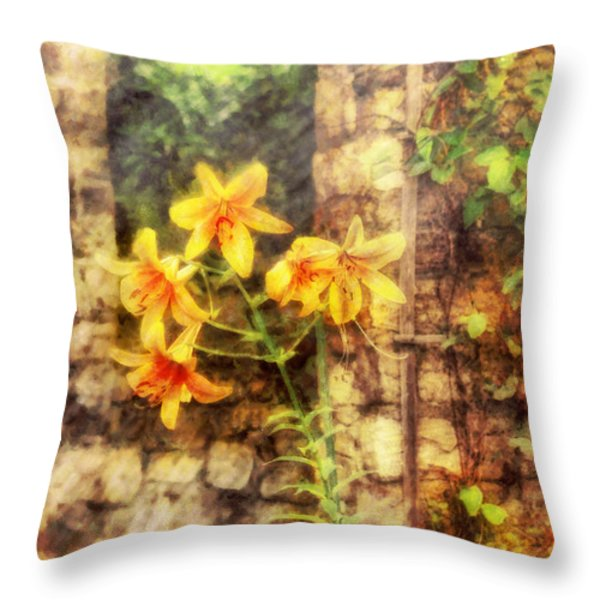 Flower - Lily - Yellow Lily  Throw Pillow by Mike Savad