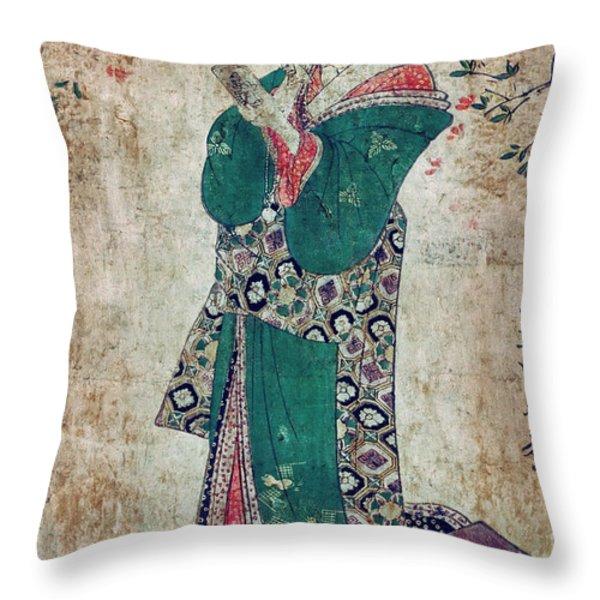 Flower Of Japan C. 1804 Throw Pillow by Daniel Hagerman