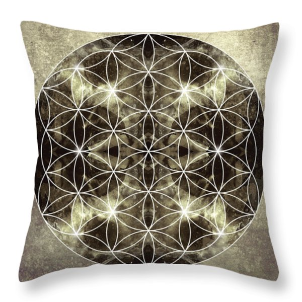 Flower of Life Silver Throw Pillow by Filippo B
