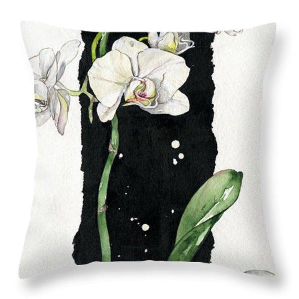 Flower ORCHID 05 Elena Yakubovich Throw Pillow by Elena Yakubovich