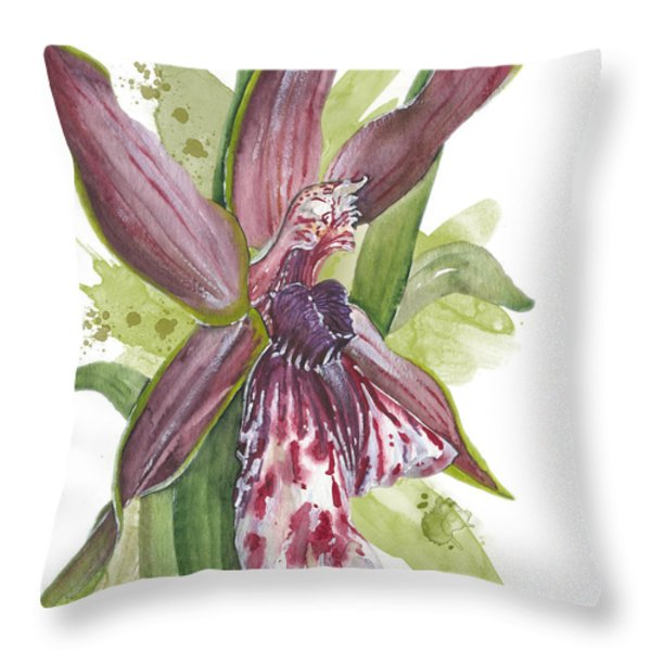 Flower ORCHID 10 Elena Yakubovich Throw Pillow by Elena Yakubovich